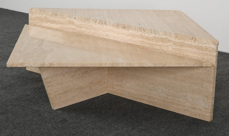 Minimalist Two Tier Travertine Marble Coffee Table, 1980s 1