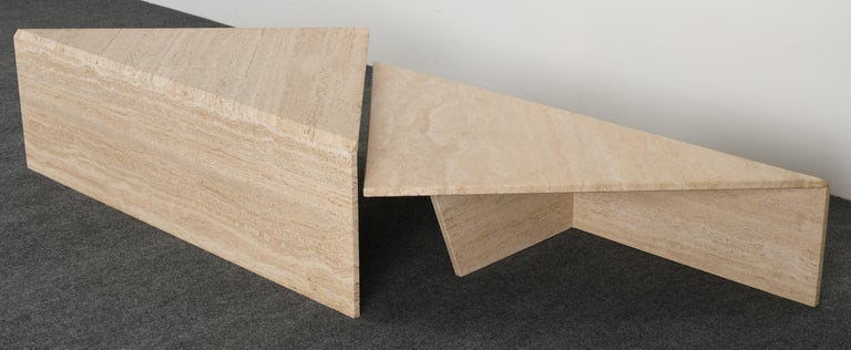 Minimalist Two Tier Travertine Marble Coffee Table, 1980s 2