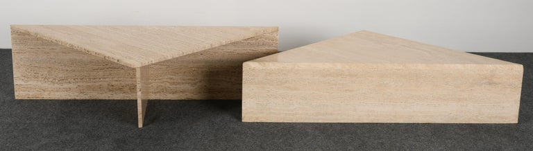 Minimalist Two Tier Travertine Marble Coffee Table, 1980s 3