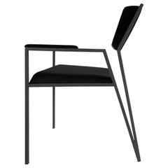 Minimalist Velvet Armchair in Brazilian Contemporary Style, by Tiago Curioni