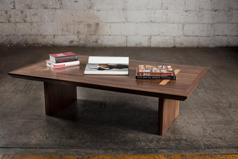 Mexican Minimalist Natural Walnut Rectangular Coffee Table For Sale