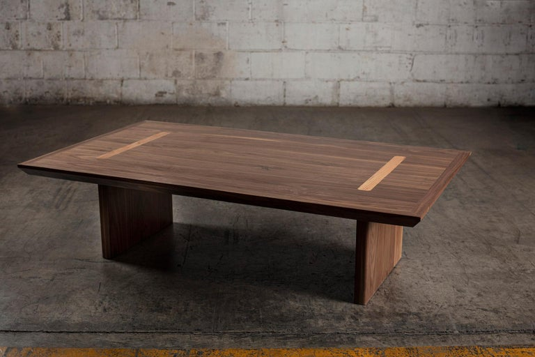 Hand-Crafted Minimalist Natural Walnut Rectangular Coffee Table For Sale