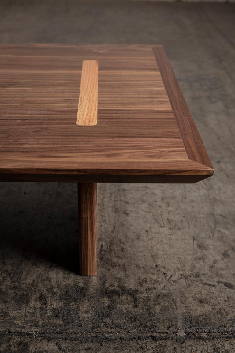 Minimalist Natural Walnut Rectangular Coffee Table In New Condition For Sale In El Paso, TX