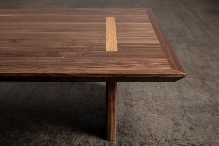 Contemporary Minimalist Natural Walnut Rectangular Coffee Table For Sale