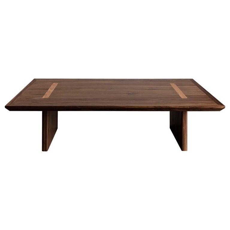Minimalist Natural Walnut Rectangular Coffee Table For Sale