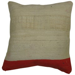 Minimalist white and orange Kilim Pillow
