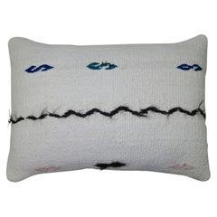 Minimalist White Black Blue Green Blush Accent Wool Vintage Turkish Kilim Pillow