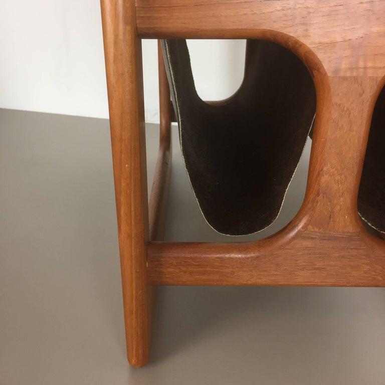 Leather Minimalistic 1970s Danish Teak Magazine Rack Design Made by Salin Mobler For Sale