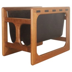 Minimalistic 1970s Danish Teak Magazine Rack Design Made by Salin Mobler