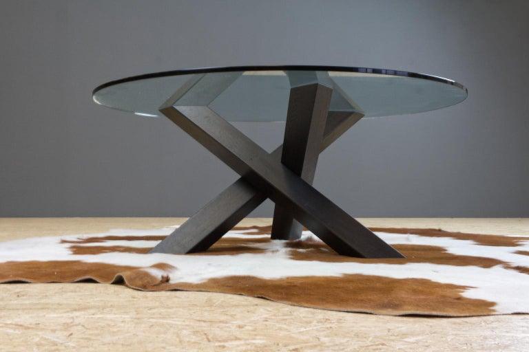 Dutch Minimalistic and Modern Round Coffee Table Glass on Dark Oak Tripod For Sale