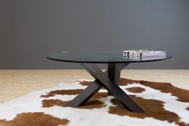 Ebonized Minimalistic and Modern Round Coffee Table Glass on Dark Oak Tripod For Sale