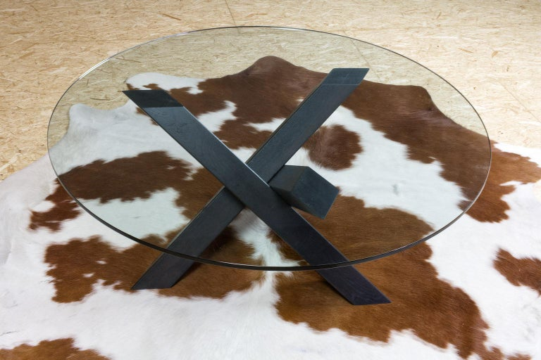 Contemporary Minimalistic and Modern Round Coffee Table Glass on Dark Oak Tripod For Sale