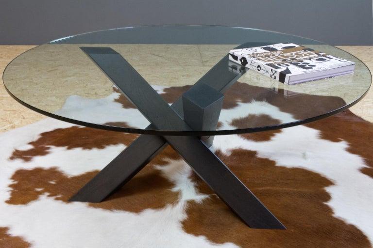 Minimalistic and Modern Round Coffee Table Glass on Dark Oak Tripod For Sale 1