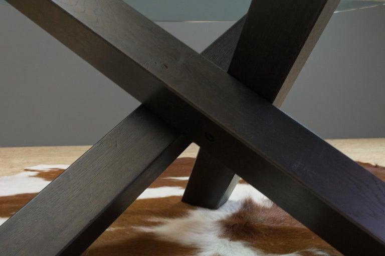 Minimalistic and Modern Round Coffee Table Glass on Dark Oak Tripod For Sale 2