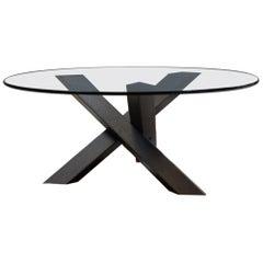 Minimalistic and Modern Round Coffee Table Glass on Dark Oak Tripod