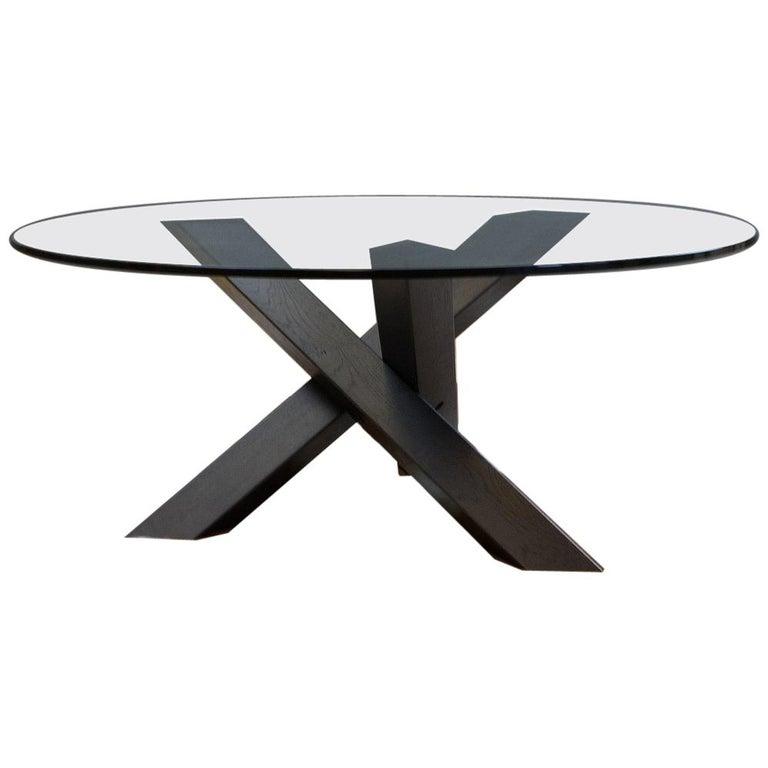 Minimalistic and Modern Round Coffee Table Glass on Dark Oak Tripod For Sale