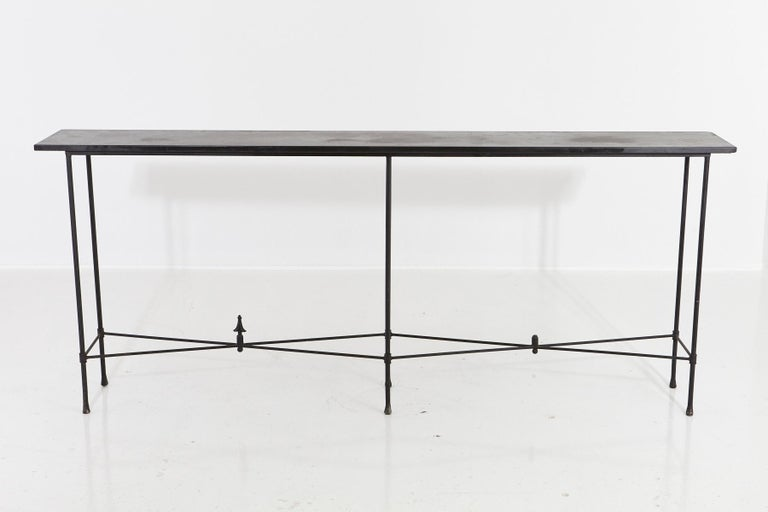 Modern Minimalistic Custom Made Long Wrought Iron Console with Slate Top, 1980s For Sale