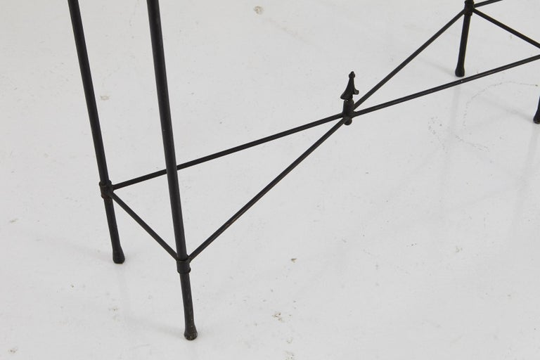 American Minimalistic Custom Made Long Wrought Iron Console with Slate Top, 1980s For Sale