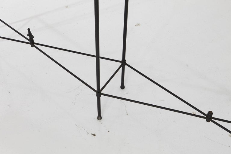 Late 20th Century Minimalistic Custom Made Long Wrought Iron Console with Slate Top, 1980s For Sale