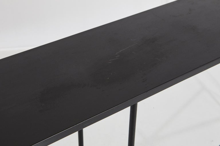 Minimalistic Custom Made Long Wrought Iron Console with Slate Top, 1980s For Sale 1