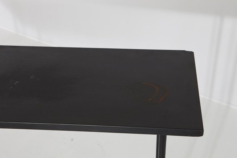Minimalistic Custom Made Long Wrought Iron Console with Slate Top, 1980s For Sale 2