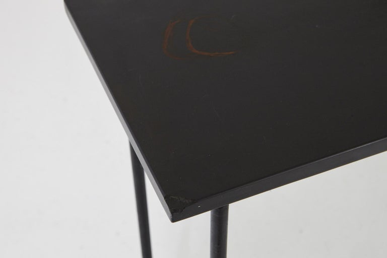 Minimalistic Custom Made Long Wrought Iron Console with Slate Top, 1980s For Sale 3