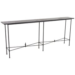 Minimalistic Custom Made Long Wrought Iron Console with Slate Top, 1980s
