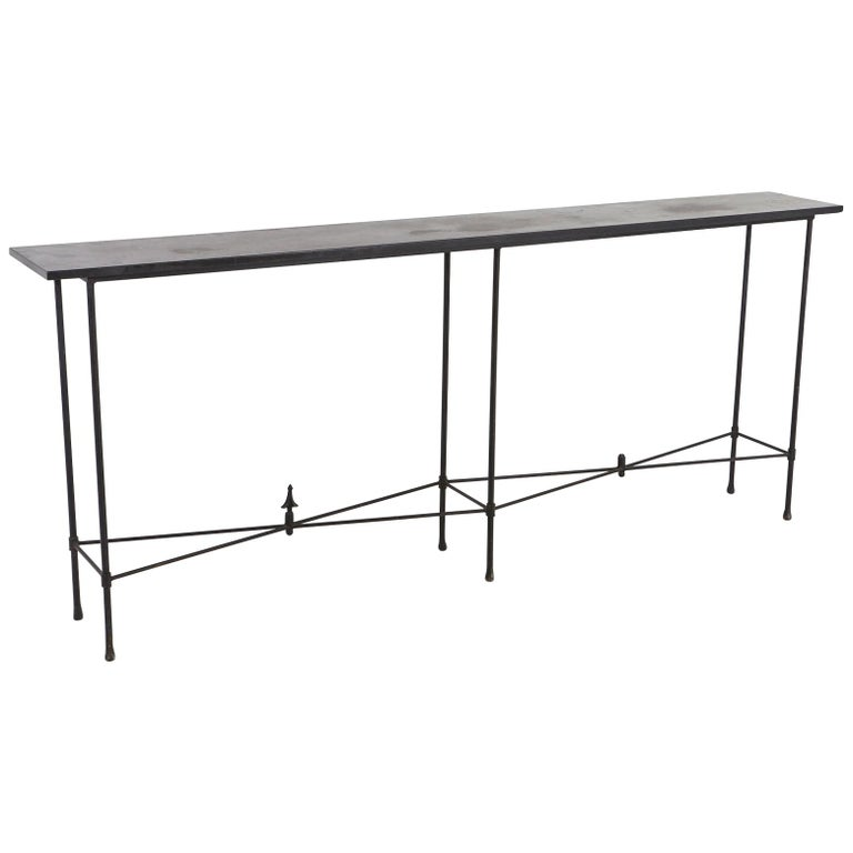Minimalistic Custom Made Long Wrought Iron Console with Slate Top, 1980s For Sale