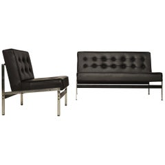 Minimalistic Leather Lounge Set '020' by Kho Liang Ie for Artifort, 1950s