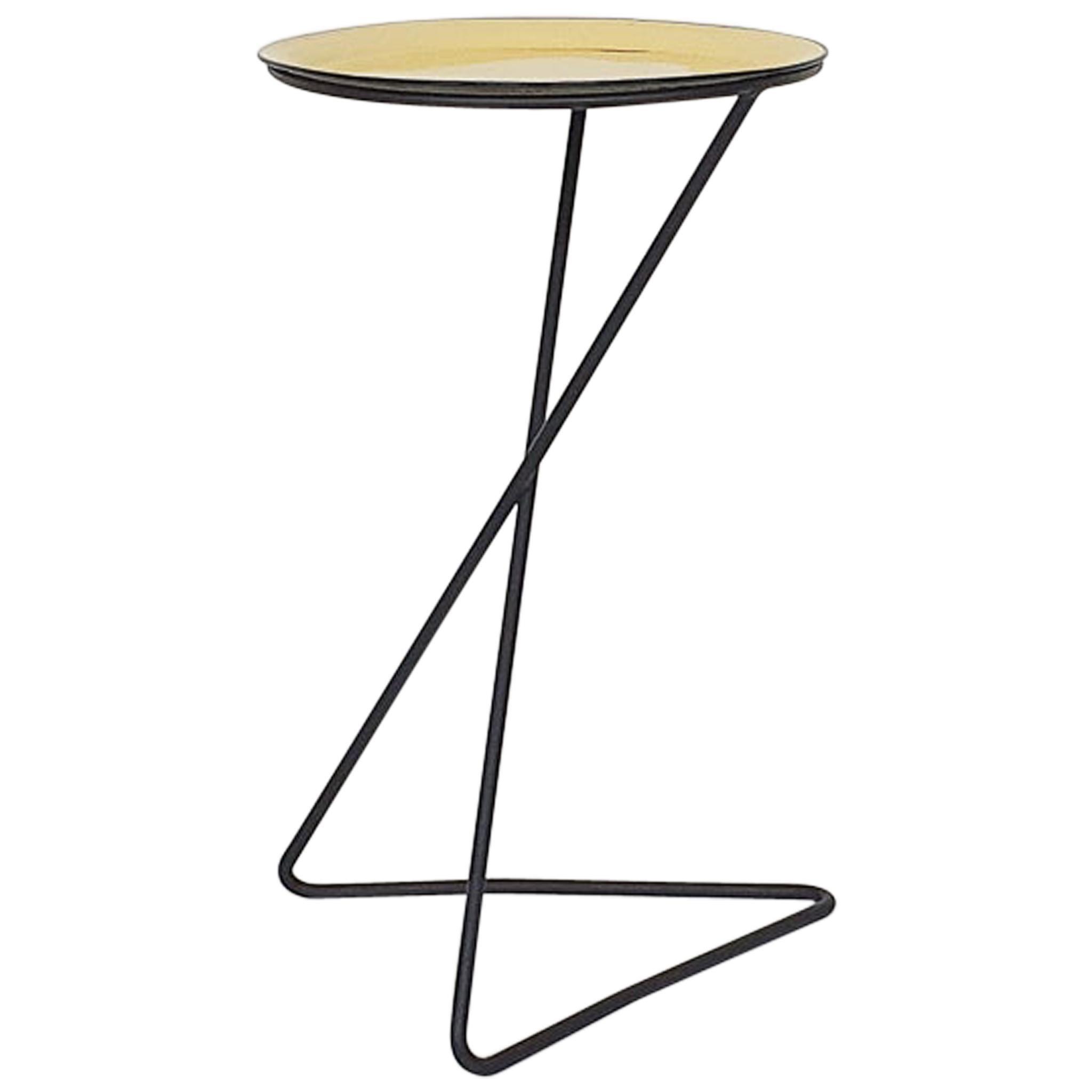 Minimalistic Metal Side Table, France 1950s