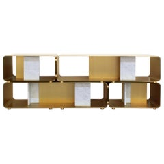 Minimalistic Sideboard INT, SD with Carrara Marble, Metal and Brushed Brass
