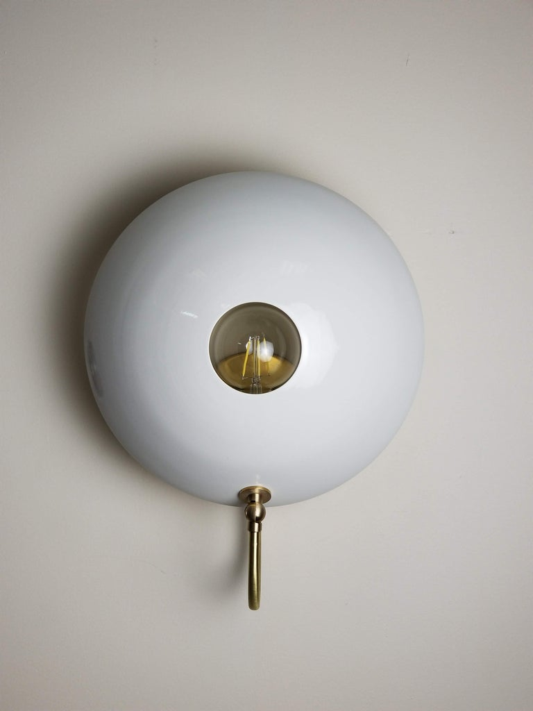 Contemporary MiniPOP Wall Sconce in Brass + Gray Enamel by Blueprint Lighting For Sale