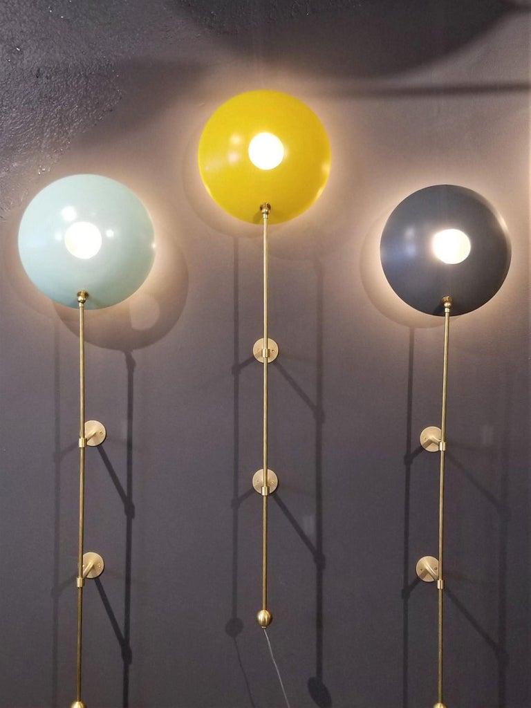 Aluminum MiniPOP Wall Sconce in Brass + Gray Enamel by Blueprint Lighting For Sale
