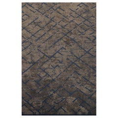 Mink Brown and Blue Contemporary Abstract Pattern Luxury Soft Semi-Plush Rug