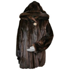 Mink fur coat with a hoodie size 20