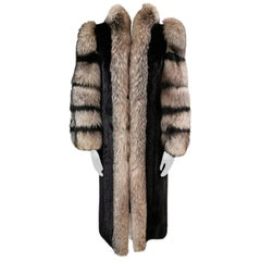 Mink fur coat with crystal fox fur trim and sleeves size 10