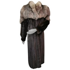 Mink fur coat with silver fox fur trim size 4-6