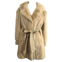 Mink Fur Cream Jacket Large Coat - Vintage 1970's Mod