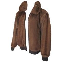 Mink Fur Leather Bomber Jacket Reversible