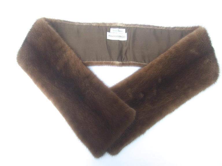 Brown Mink Fur Plush Collar Designed by Pologeorgis from Neiman Marcus c 1990s For Sale