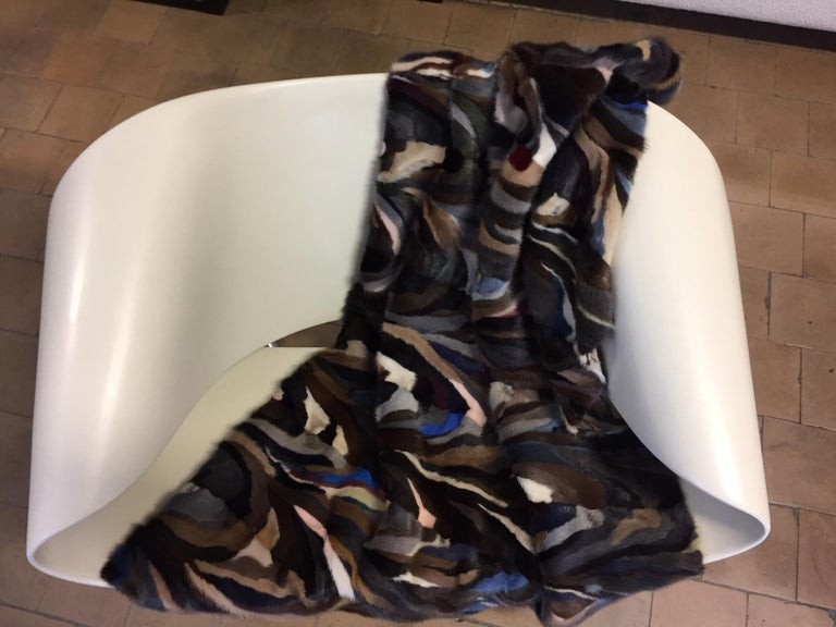 German Mink Patch Work Multicolored Throw For Sale