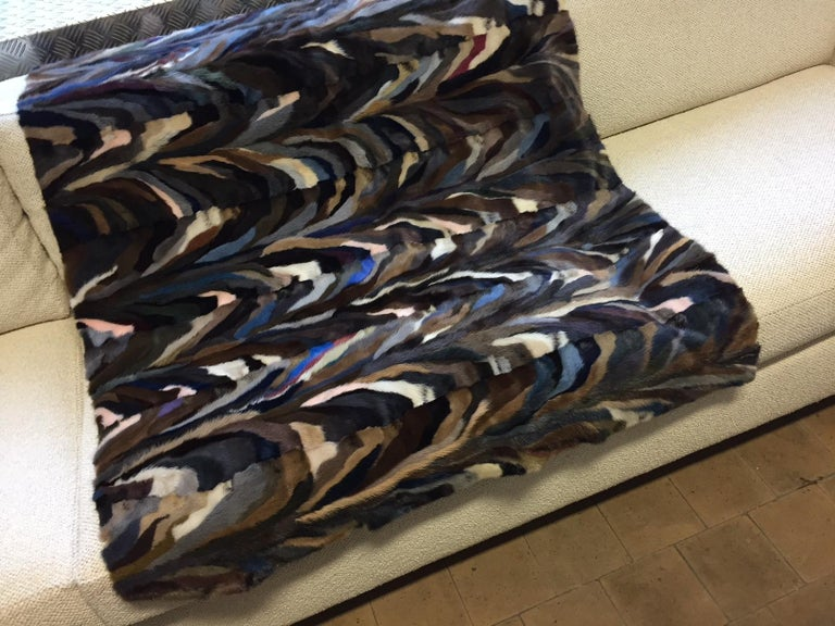 Patchwork Mink Patch Work Multicolored Throw For Sale