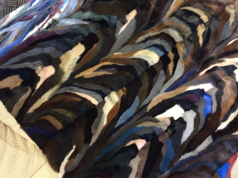 Mink Patch Work Multicolored Throw In New Condition For Sale In Hamburg, DE