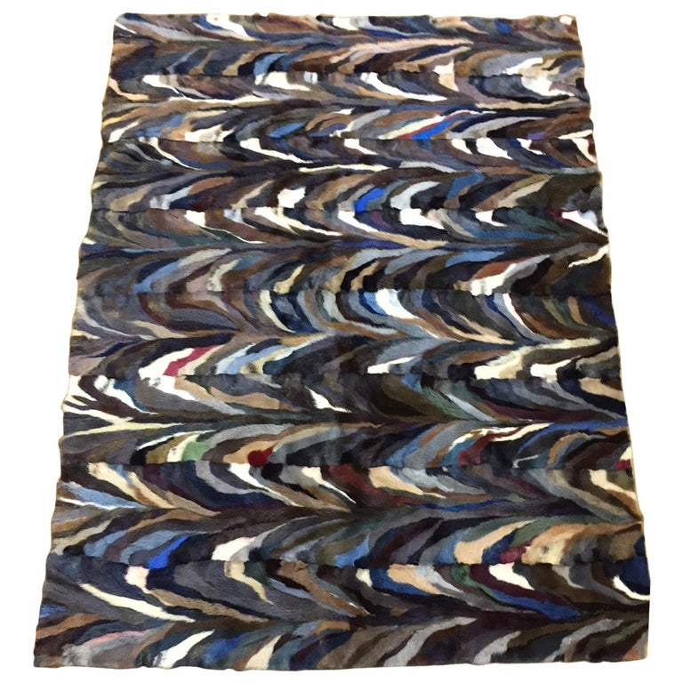 Mink Patch Work Multicolored Throw For Sale