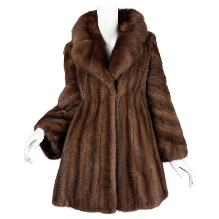 Mink + Sable Fur Coat For Sale