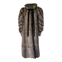 Mink-trimmed Vintage Printed Leopard Fur Coat