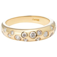 18 Karat Yellow Gold Scattered Diamond Domed Band Ring