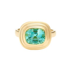 Minka, 2.70 Carat Cushion Cut Paraiba Tourmaline 18 Karat Yellow Gold Ring