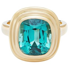 Minka, 6.34 Carat Cushion Cut Blue Tourmaline 18 Karat Yellow Gold Athena Ring