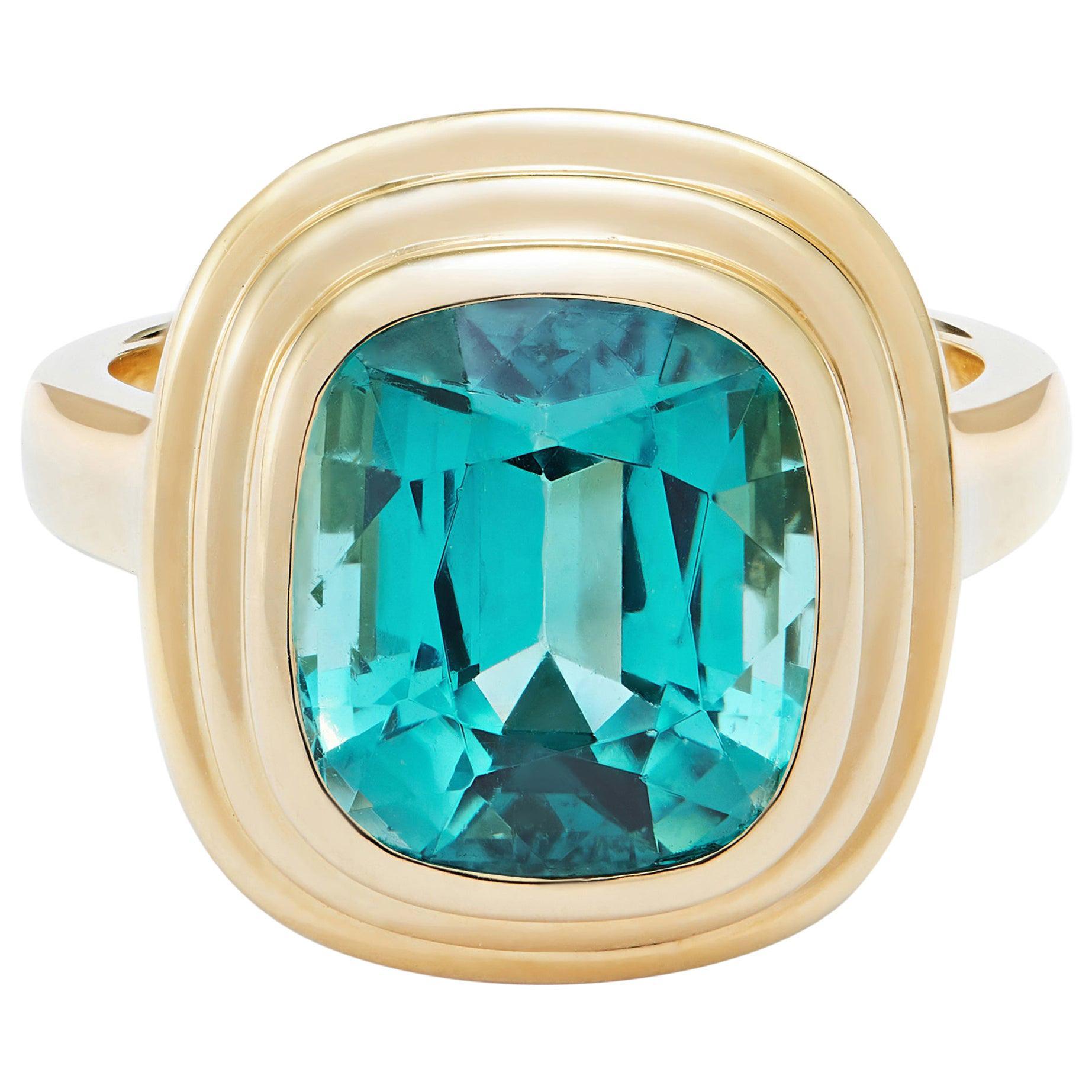 Minka, 6.34 Carat Cushion Cut Blue Tourmaline 18 Karat Yellow Gold Athena Ring